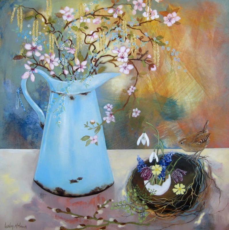 Catkins And Blossom By Lesley Mclaren
