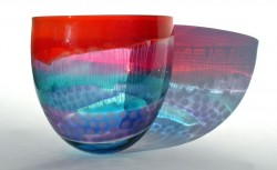 Red ruby green lilac mid strappy bowl