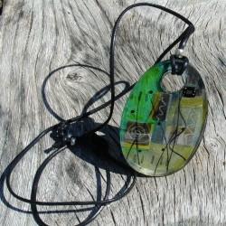Lime grey oval pendant
