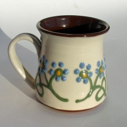 Blue flowered half-pint mug