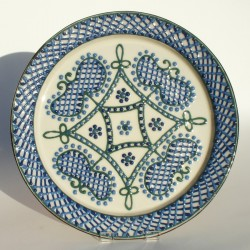 Forget-me-not blue lattice platter
