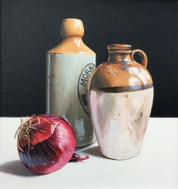 Stoneware Bottles with Red Onions