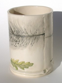Feather and leaf vase