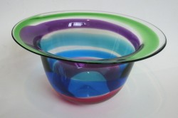 Lilac turquoise mid ruby flared bowl