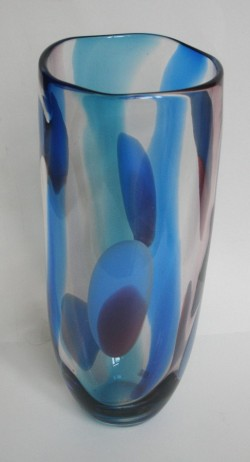 Turquoise spots and stripes vase
