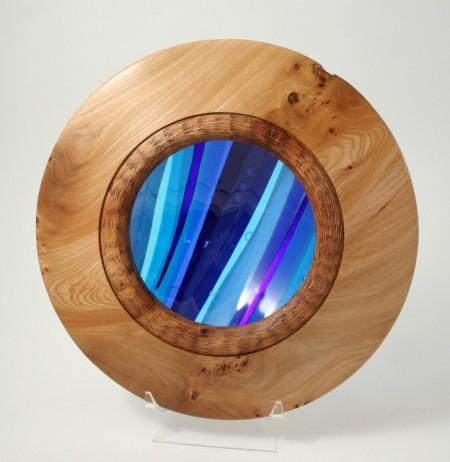 Burr Elm medium wide rimmed fused glass bowl