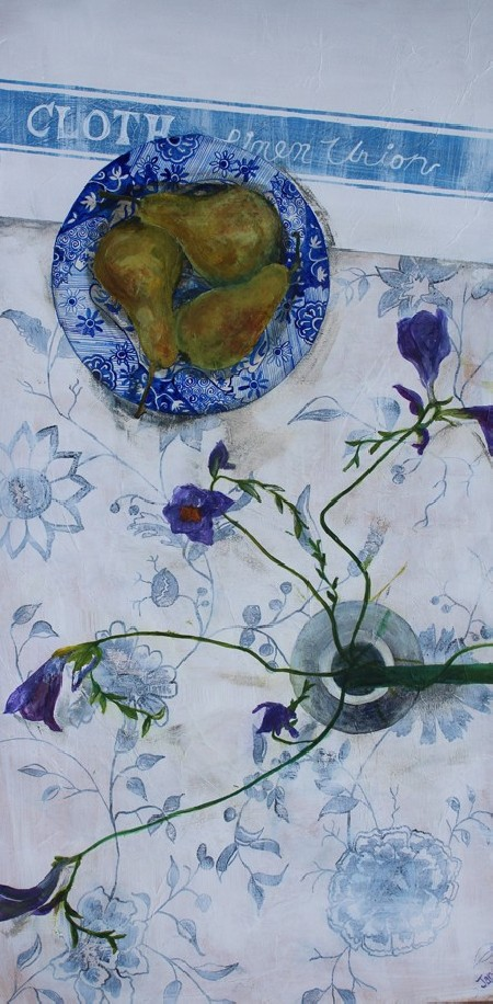 Blue and White with Pears