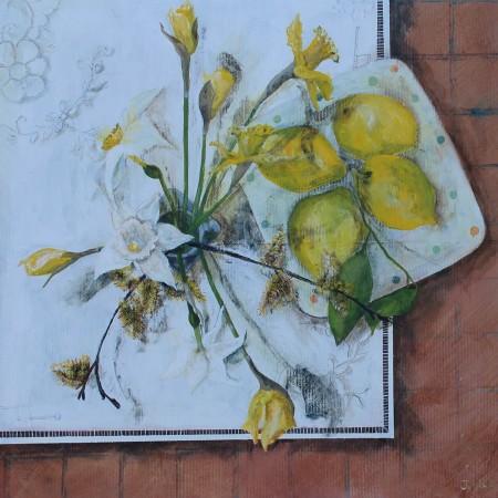 Four Lemons and Daffodils