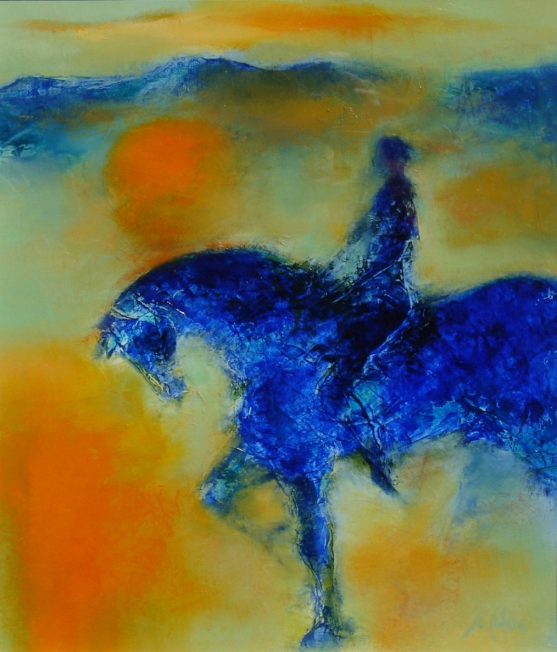 Blue Horse and Rider
