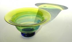 Citrus blue flared bowl