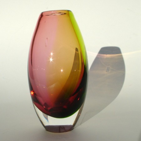 Amber ruby two tone vase