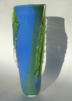 Large blue green ridge vase