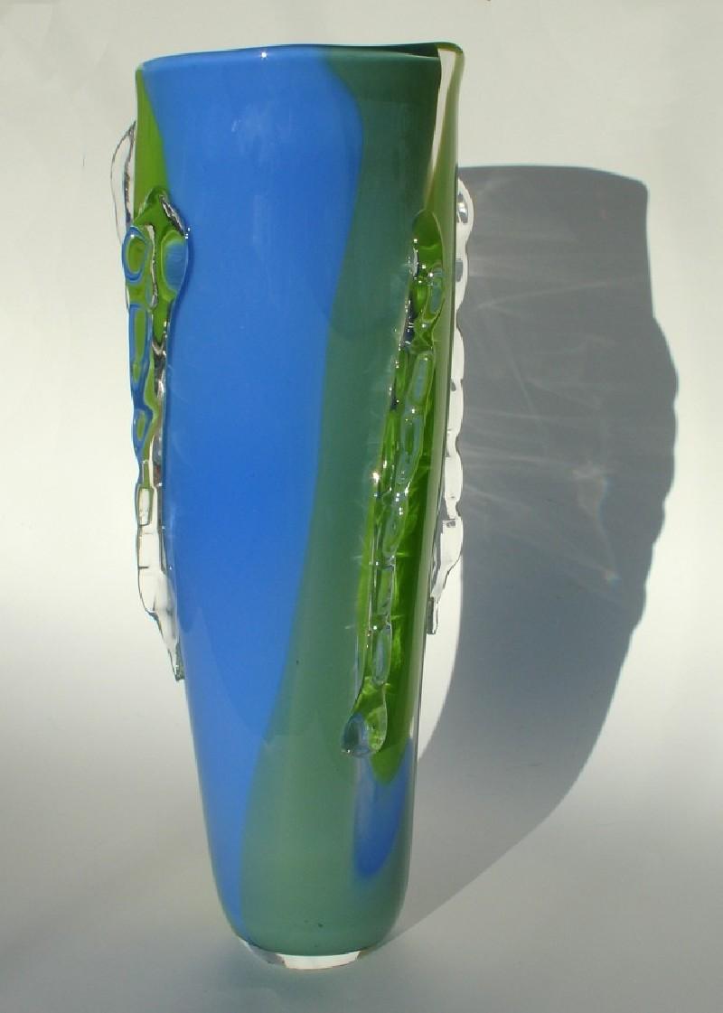 Large blue green ridge vase