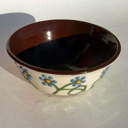 Blue flowered soup bowl
