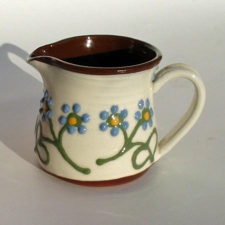 Blue flowered cream jug