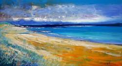 Balnahard Beach Isle of Colonsay rain passing Mull