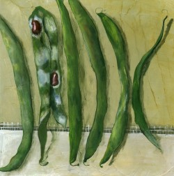 Green Beans on a Lace Cloth