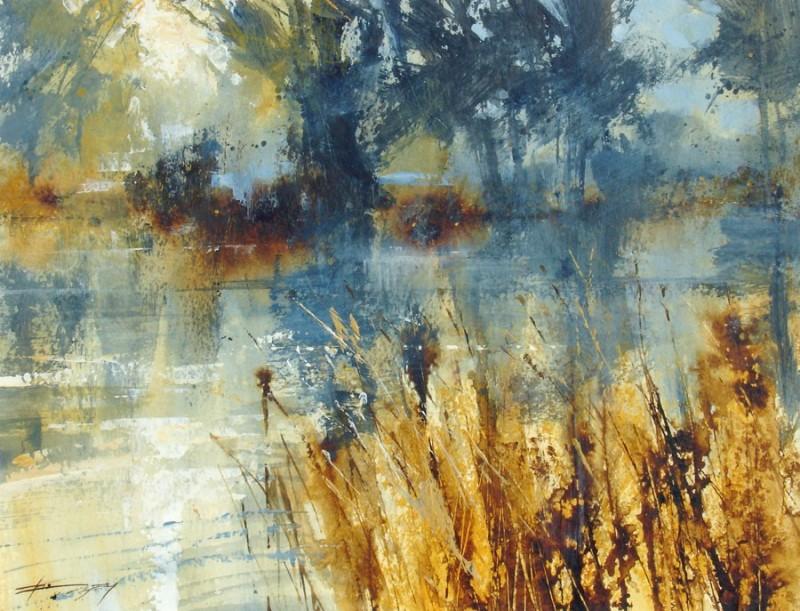 Riverbank and Dawn Mist