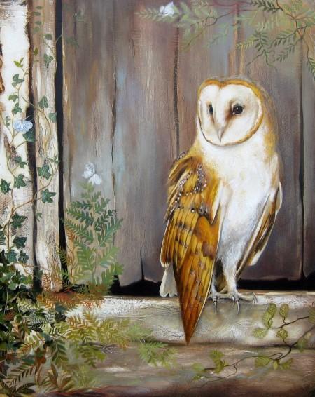 Owl by the Barn Door