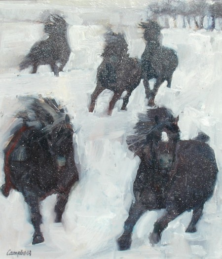 Five Ponies Hurrying in the Snow