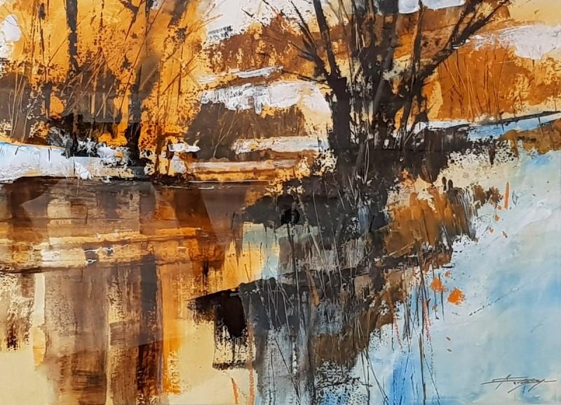 River, Sun and Early Snowfall
