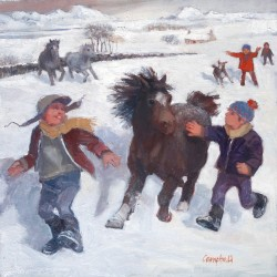 Pony Racing in the Snow