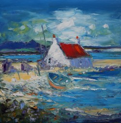 Beached Boat And Croft Isle Of Benbecula