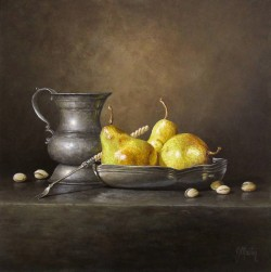 Pears and Pewter with Pistachios