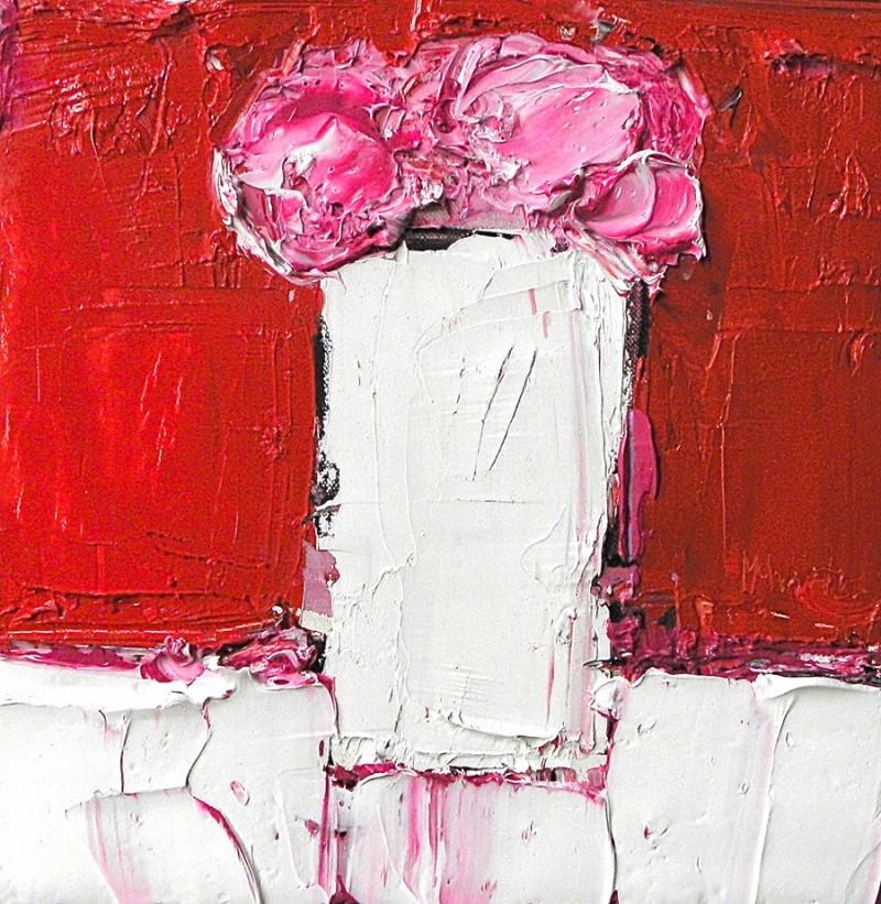 Pink Peonies Against Cadmium Red