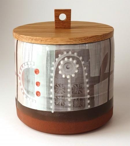 Jar with Turned Oak Lid - Flowers