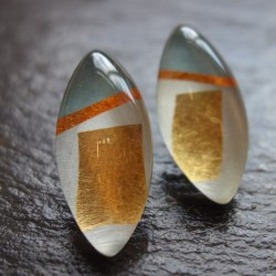 Silver gold oval studs