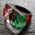 Rainbow emerald ring
