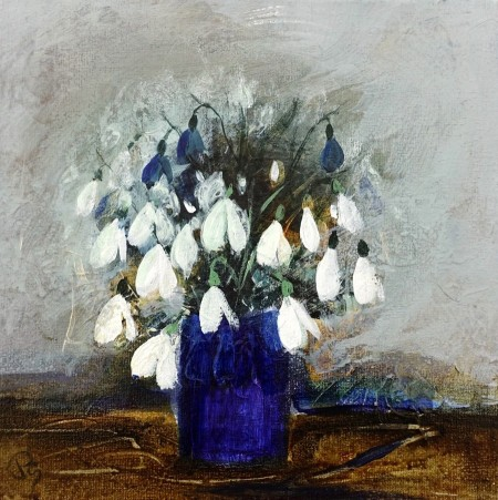 Snowdrops in a Blue Vase