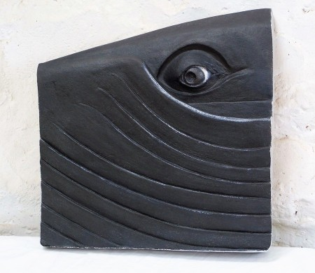 Whale Eye - stoneware sculpture by Illona Morrice