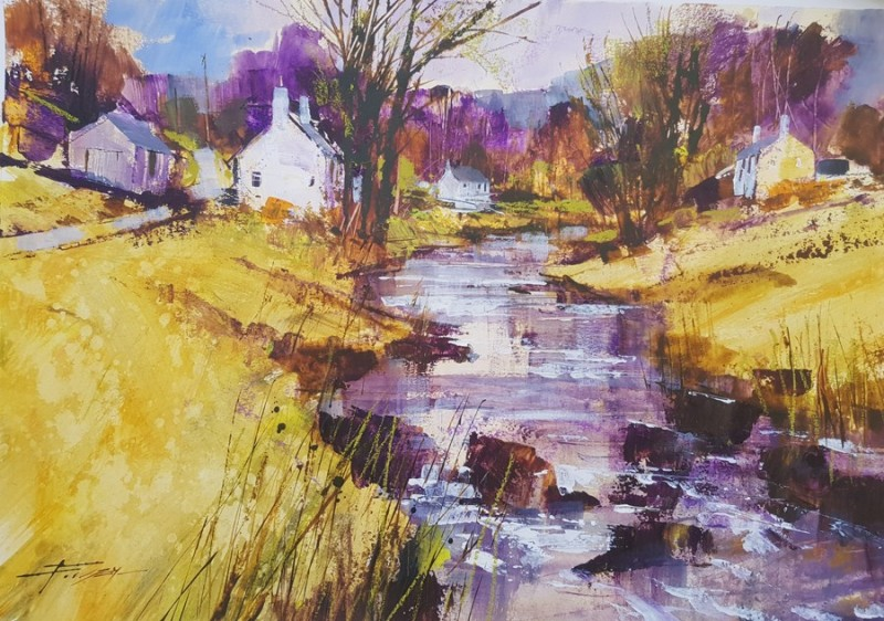 Crofts and Rocky Stream by Chris Forsey RI