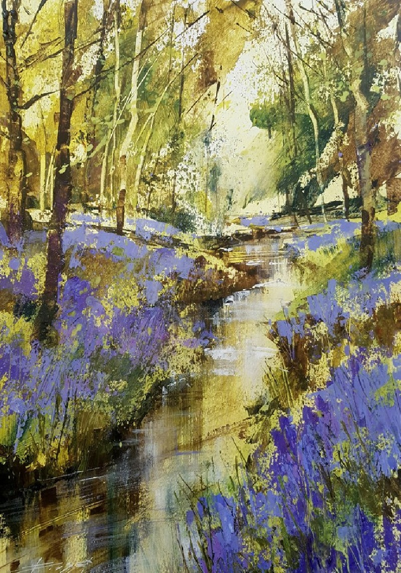 Stream and Bluebells by Chris Forsey RI