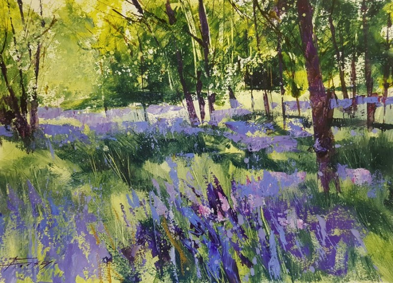 Bluebell Wood by Chris Forsey RI