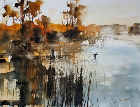Loch Side Mist and Silhouettes by Chris Forsey RI