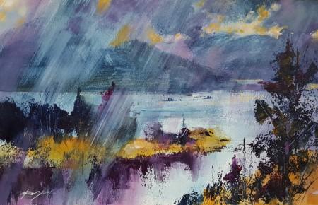 Sudden Shower, Loch Carron by Chris Forsey RI
