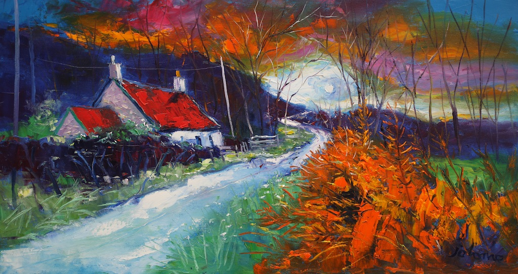 "A Stormy Sunset Dunrostan Knapdale  John Lowrie Morrison OBE  16"" x 30"" oil on canvas"