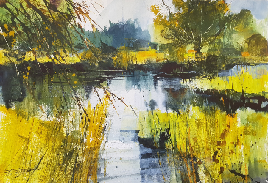 Spring, River and Reeds —mixed media painting by Chris Forsey RI