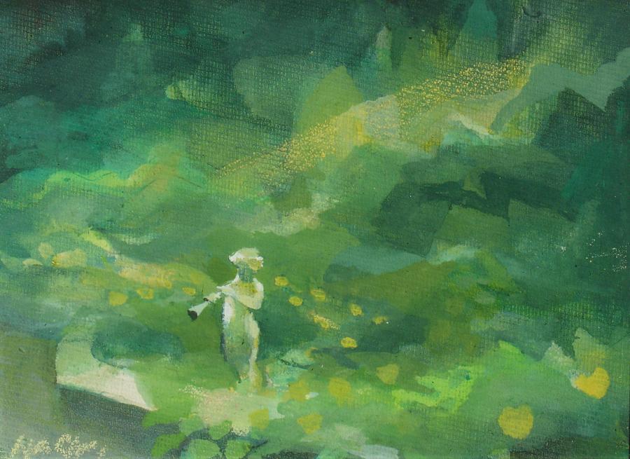 Pan In A Spring Garden by HAZEL NAGL RSW RGI PAI