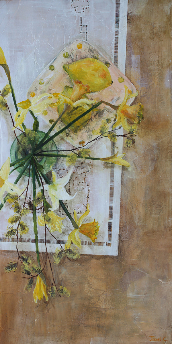 Daffs, Lemons And Willow by Janet Cleghorn