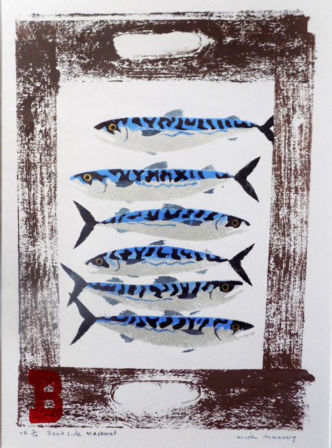 Bankside Mackerel pochoir by Mick Manning