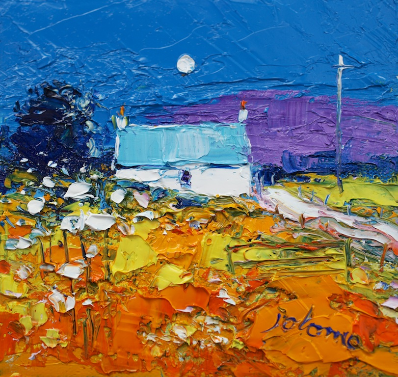 "Moon and Croft Isle of Gigha  JOHN LOWRIE MORRISON 6"" x 6"" oil on canvas"