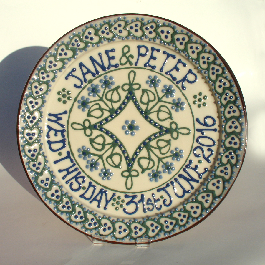 Commemorative slipware plate by Alsager Pottery