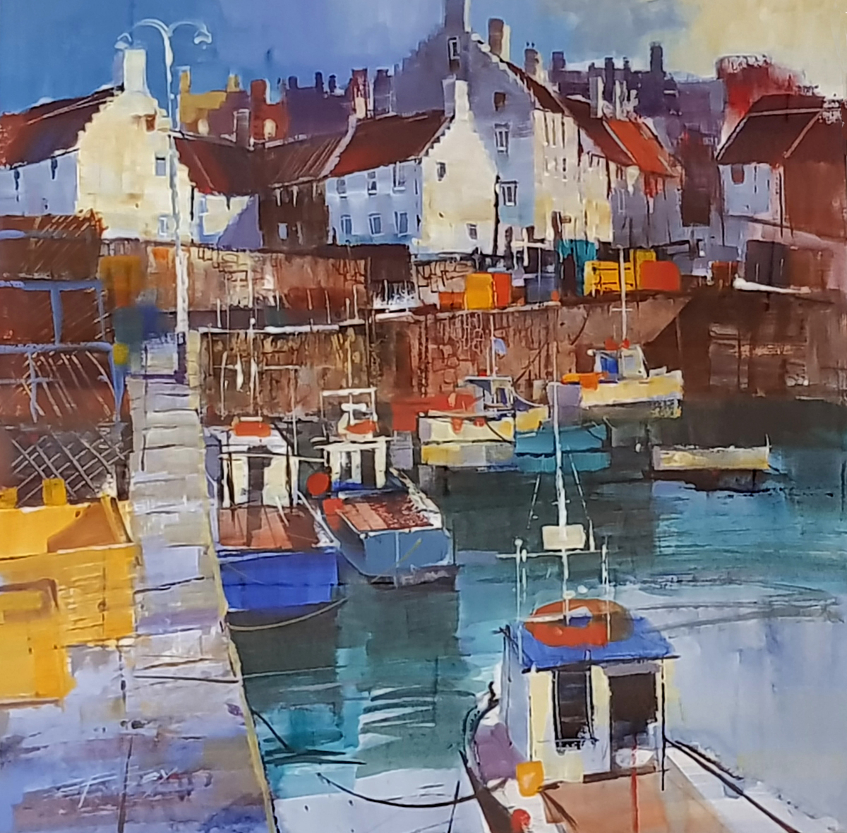 Sunshine and Harbour, Crail by Chris Forsey RI