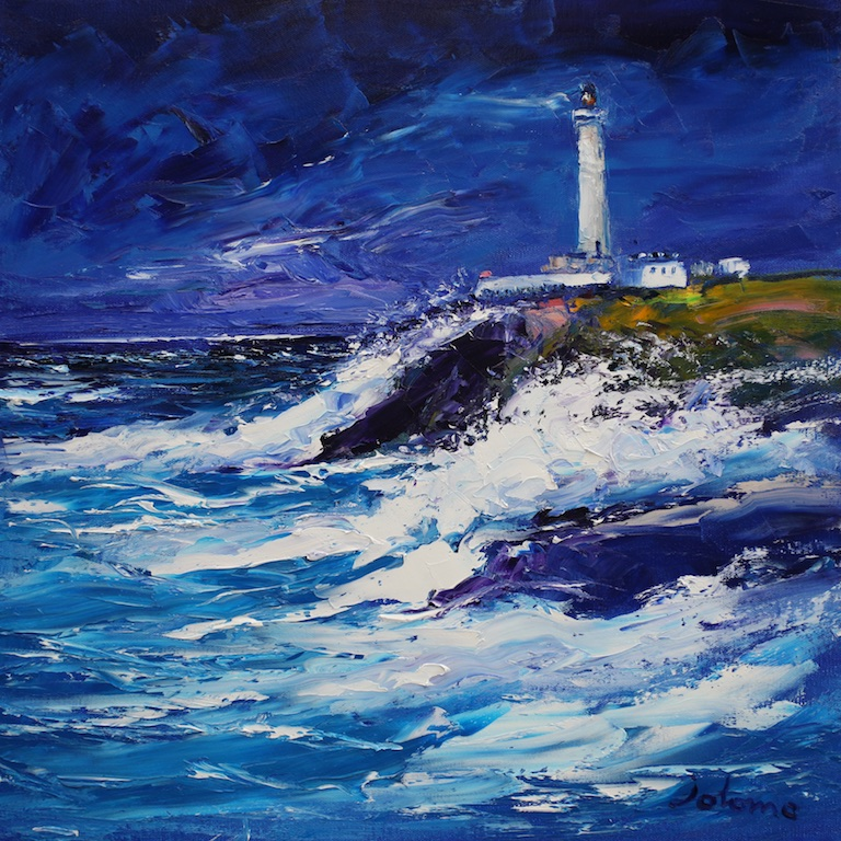 "Wild Day Ardnamurchan Lighthouse  John Lowrie Morrison OBE  20"" x 20"" oil on canvas"