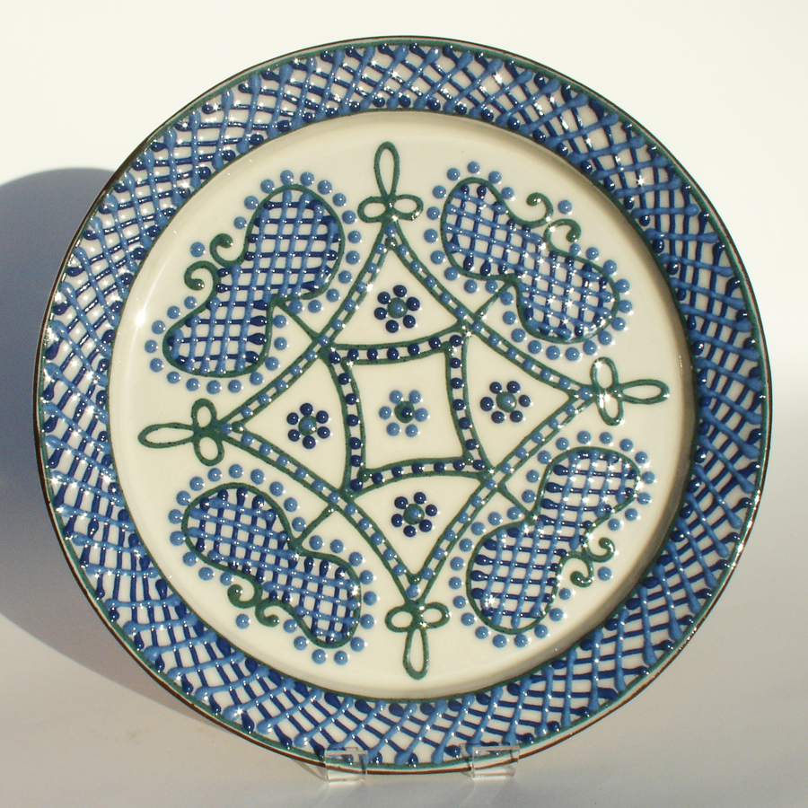 Blue lattice plate - slipware by Alsager Pottery