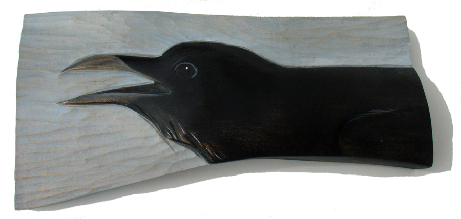 Raven Calling — carved and painted by Kathryn O'Kell